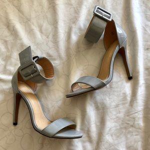 Beautiful gray two strap Charlotte heels